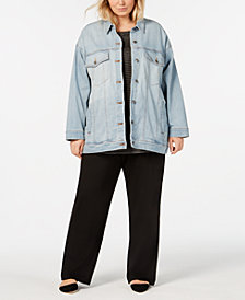 Eileen Fisher Plus Size Organic Cotton Button-Front Denim Jacket