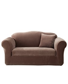 Sure Fit Stretch Pinstripe Two Piece Loveseat Slipcover