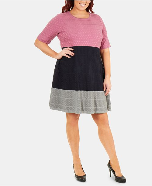 NY Collection Plus Size Colorblock Fit & Flare Sweater Dress ...