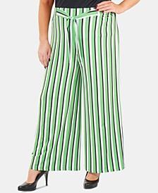 Plus Size Striped Wide-Leg Pants