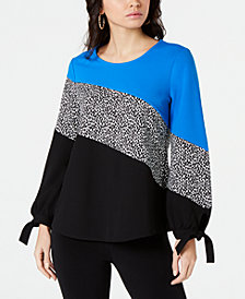 Alfani Petite Colorblocked Tie-Sleeve Top, Created for Macy's
