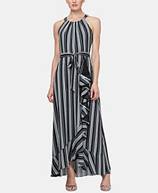 SL Fashions Striped Halter Gown