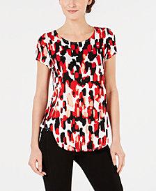 Alfani Petite Printed Round-Hem T-Shirt, Created for Macy's