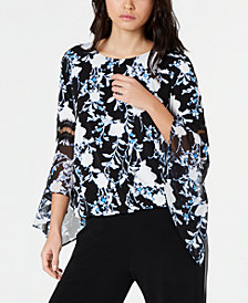 Alfani Petite Lace-Inset Angel-Sleeve Top, Created for Macy's