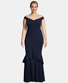Betsy & Adam Plus Size Off-The-Shoulder Ruffled Gown
