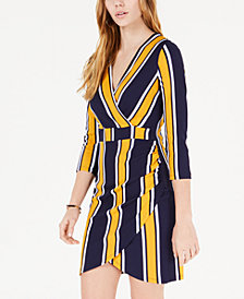 Almost Famous Juniors' Striped Wrap Dress