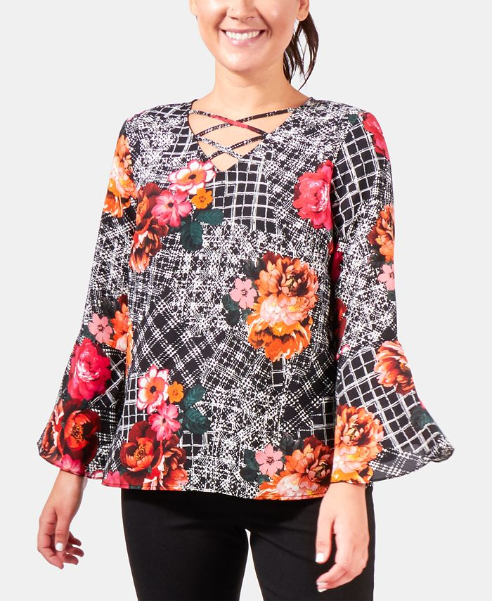 NY Collection - Petite Paisley-Print Bell-Sleeve Top