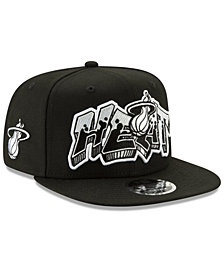 New Era Miami Heat Retroword Black White 9FIFTY Snapback Cap