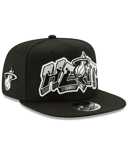 ffb5b592561 ... New Era Miami Heat Retroword Black White 9FIFTY Snapback Cap ...