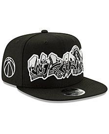 New Era Washington Wizards Retroword Black White 9FIFTY Snapback Cap