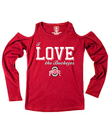 Wes & Willy Ohio State Buckeyes Cold Shoulder Long Sleeve T-Shirt, Girls (4-16)