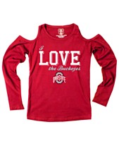 11147cb5a Wes & Willy Ohio State Buckeyes Cold Shoulder Long Sleeve T-Shirt, Girls (