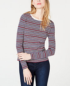 Maison Jules Striped Crew-Neck Sweater, Created for Macy's