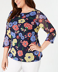 Charter Club Plus Size Printed Mesh 3/4-Sleeve Top, Created for Macy's