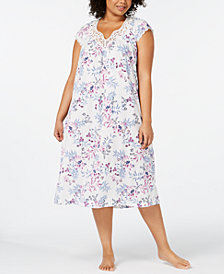 Charter Club Plus Size Flutter-Sleeve Printed Knit Nightgown, Created for Macy's
