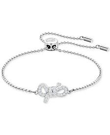 Silver-Tone Pavé Bow Slider Bracelet