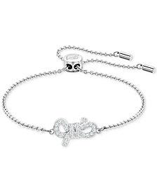 Swarovski Silver-Tone Pavé Bow Slider Bracelet