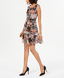 Connected Petite Printed Lace Dress