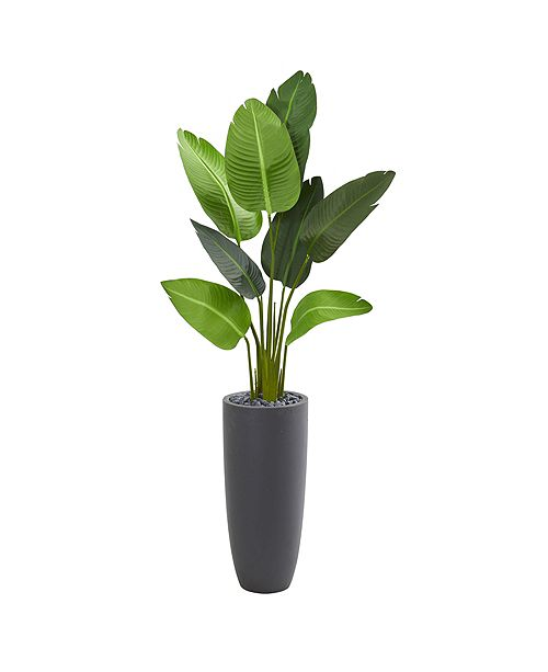 Nearly Natural 5.5' Traveler's Palm Artificial Tree in Gray Planter