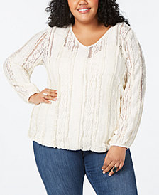 Style & Co Plus Size Lace V-Neck Top, Created for Macy's