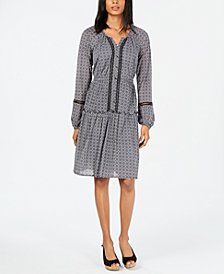 Style & Co Petite Printed Split-Neck A-Line Dress, Created for Macy's
