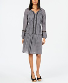 Style & Co Printed Split-Neck A-Line Dress, Created for Macy's