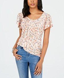 Style & Co Printed Pleated Scoop-Neck Top, Created for Macy's