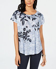Style & Co Short-Sleeve Printed Dolman Top, Created for Macy's