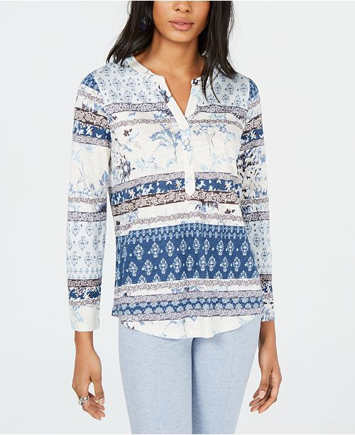 Style & Co Petite Multi-Print Roll-Tab Knit Top, Created for Macy's