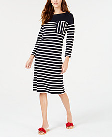 Weekend Max Mara Striped Cotton Sweater Dress
