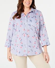 fcb7982db9f Karen Scott Plus Size Francesca Cotton Floral-Print Blouse