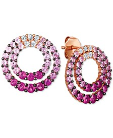 Strawberry Layer Cake Multi-Gemstone Ombré Double Circle Drop Earrings (2-1/6 ct. t.w.) in 14k Rose Gold