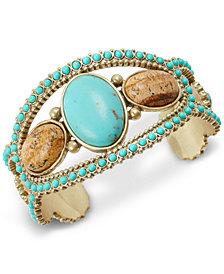 Lucky Brand Gold-Tone Stone & Bead Cuff Bracelet