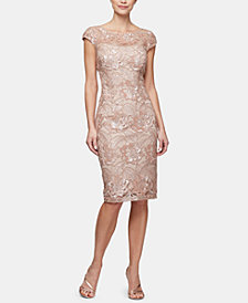 Alex Evenings Petite Sequined Mesh Dress