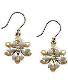 Lucky Brand Two-Tone Flower Layered Drop Earrings