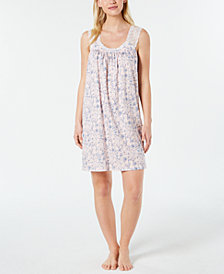 Charter Club Lace-Trimmed Printed Knit Nightgown, Created for Macy's