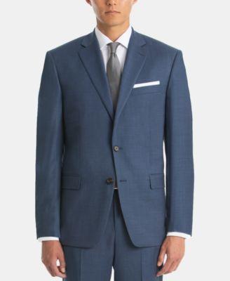 Men's UltraFlex Blue Sharkskin Wool Suit Jacket