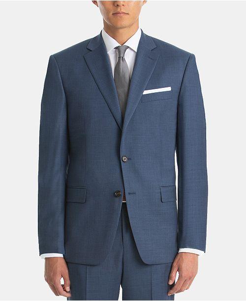 Lauren Ralph Lauren Men's UltraFlex Blue Sharkskin Wool Suit Jacket