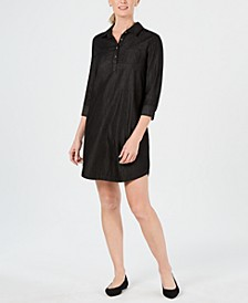 Petite Cotton Split-Neck Shift Dress, Created for Macy's