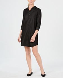 Karen Scott Cotton 3/4 Sleeve Chambray Shirtdress, Created for Macy's