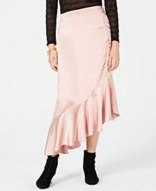 Bar III Asymmetrical-Ruffle Midi Skirt, Created for Macy's