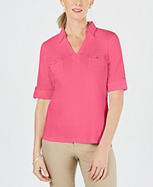 Cotton Cuffed Elbow-Sleeve Top, Created for Macy's