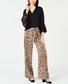 Bar III Lace-Sleeve Top & Cheetah-Print Pants, Created for Macy's