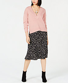 Bar III V-Neck Sweater & Midi Skirt, Created for Macy's