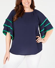 Charter Club Plus Size Tiered-Sleeve Top, Created for Macy's