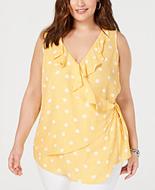 I.N.C. Plus Size Sleeveless Polka-Dot Wrap Top, Created for Macy's