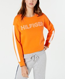 Tommy Hilfiger Sport Striped-Sleeve Logo French Terry Sweatshirt