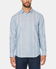 Cubavera Men's Stripe Panel Long-Sleeve Linen Shirt