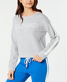 Tommy Hilfiger Striped-Sleeve Logo Fleece Sweatshirt
