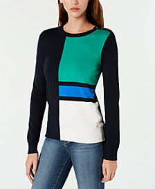 Tommy Hilfiger Colorblocked Crew-Neck Sweater, Created for Macy's